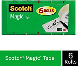 Scotch Magic Tape, 6 Rolls, Numerous Applications, Invisible, Engineered for Repairing, 3/4 x 1000 Inches, Boxed (810K6)