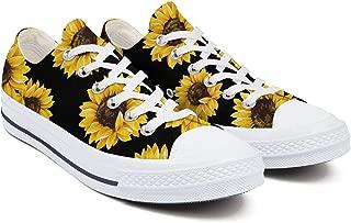 Sunflower Pattern Black Background Women's Low-Cut Laced...