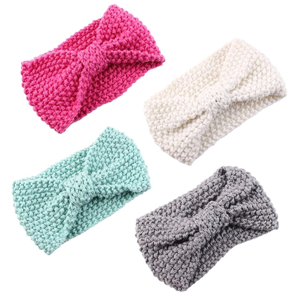 Zoylink Baby Turban Headbands, 4Pcs Baby Head Wrap Knotted Bow Wool Knitting Turban Headbands for Newborn Toddlers