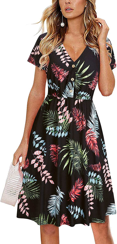 LAISHEN Women's V-Neck Casual Dress Short Sleeve Button Down Knee Length Sundress with Pockets