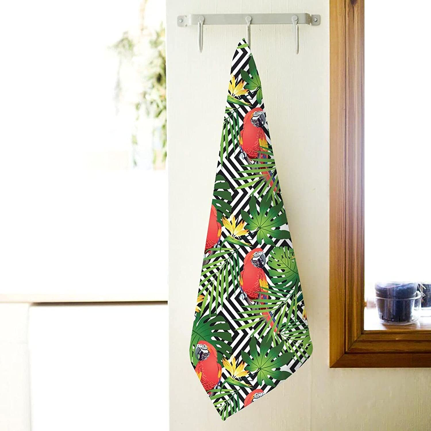 67% Raleigh Mall OFF of fixed price Bath Towels Bathroom Soft and in Plush Birds Folia Jungle