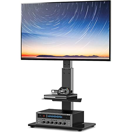 Amazon Com Rfiver Modern Tv Floor Stand With Swivel Mount Universal For 27 55inch Lcd Led Flat Screens Black Height Adjustable Space Saving Corner Tv Stand For Home Office With Wire Management Vesa 400x400mm