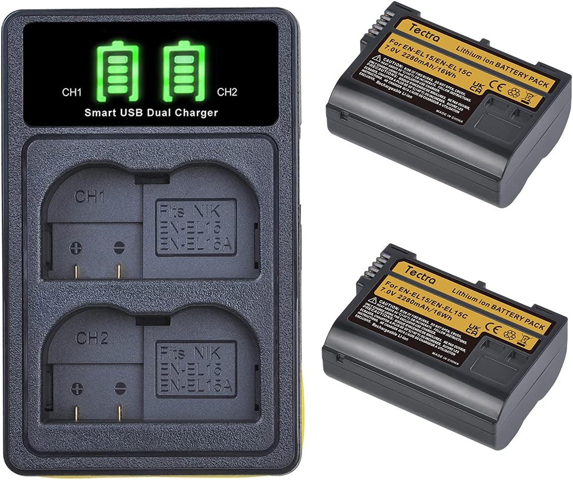 Tectra 2-Pack EN-EL15 EN-EL15C Max 83% OFF Rechargeable LED Outlet SALE Batteries Du and