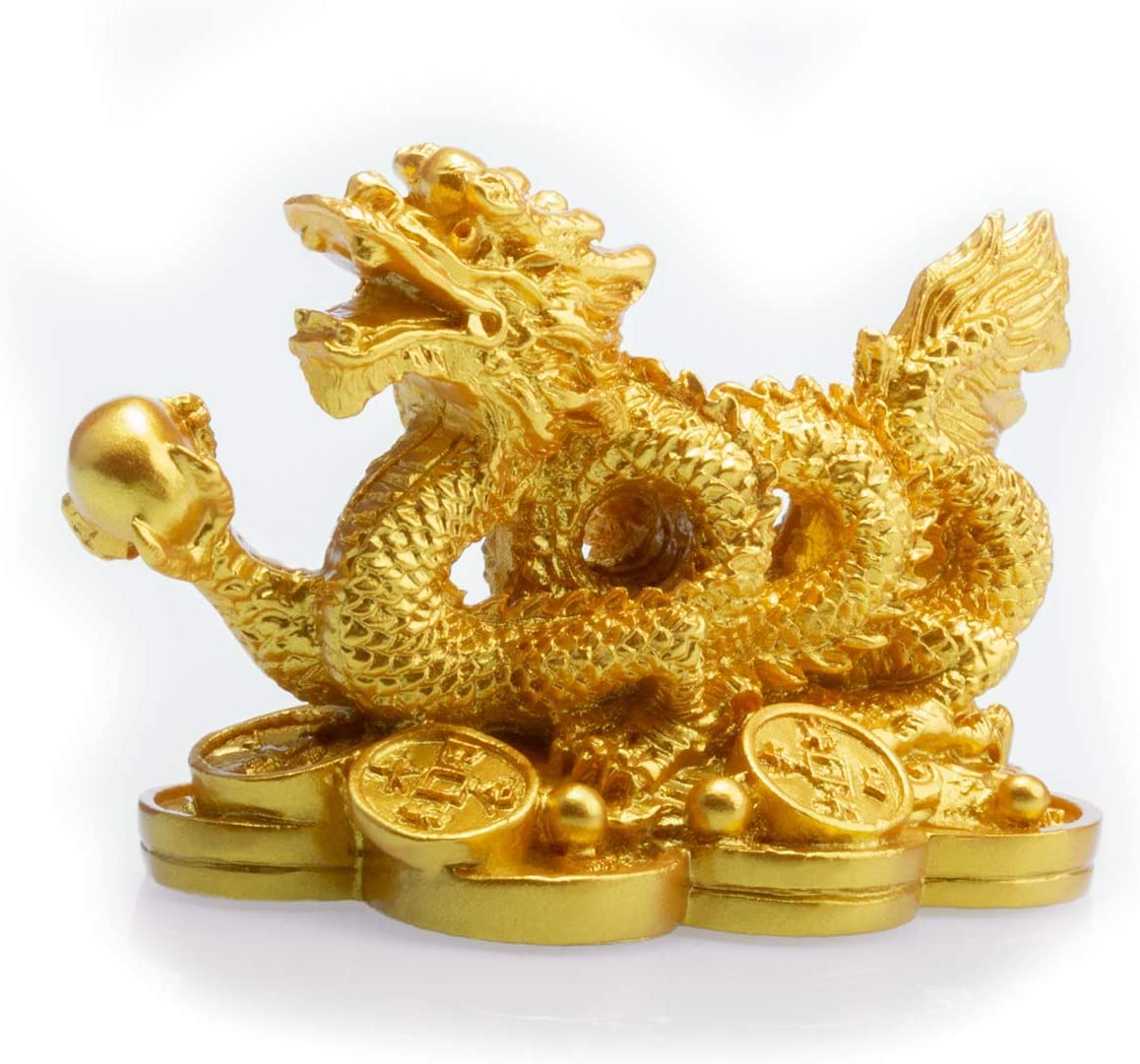 Feng Shui Resin Dragon Loong on Ancient Coins Statue Symbol of Prosperity Home Office Decor(Gold)