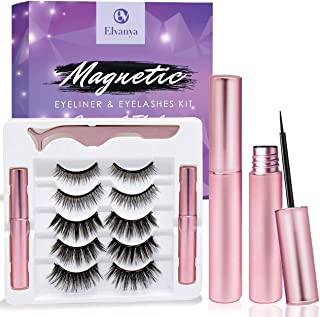 Magnetic Eyelashes with Eyeliner - Magnetic Eyeliner and Magnetic Eyelash Kit - Eyelashes With Natural Look - Comes With A...