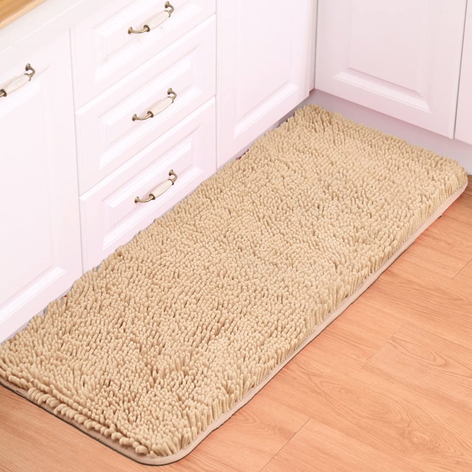 Chenille mat Floor mats Water-Absorption Bathroom Anti-Slip mat Doormat Foot Pad Indoor mats Restroom Kitchen mats-K 70x140cm(28x55inch)
