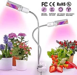 Grow Lights for Indoor Plants, Kolem 45W Full Spectrum LED Grow Light, Dual Head Grow Lamp with Replaceable Plant Light Bulbs