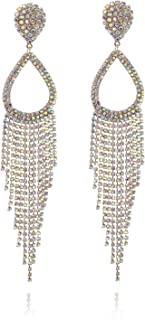 Clip On Halo Teardrop Cascade Fashion Earrings Accented with Diamond Like Rhinestones