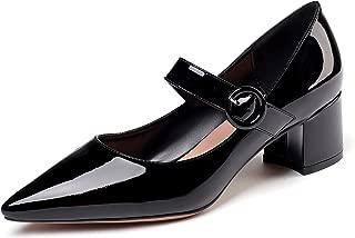 Eldof Women's Pointed Toe Pumps,Classy 2 Inches Block Heel Chic Mary Jane Pumps, Confort Heel for Office Wedding Dress