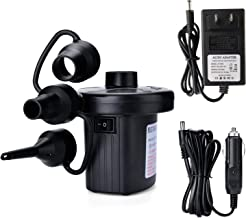 Electric Air Pump, Portable Quick-Fill Air Pump with 3 Nozzles, 110V AC/12V DC, Perfect Inflator/Deflator Pumps for Outdoor Camping, Inflatable Cushions, Air Mattress Beds, Boats, Swimming Ring