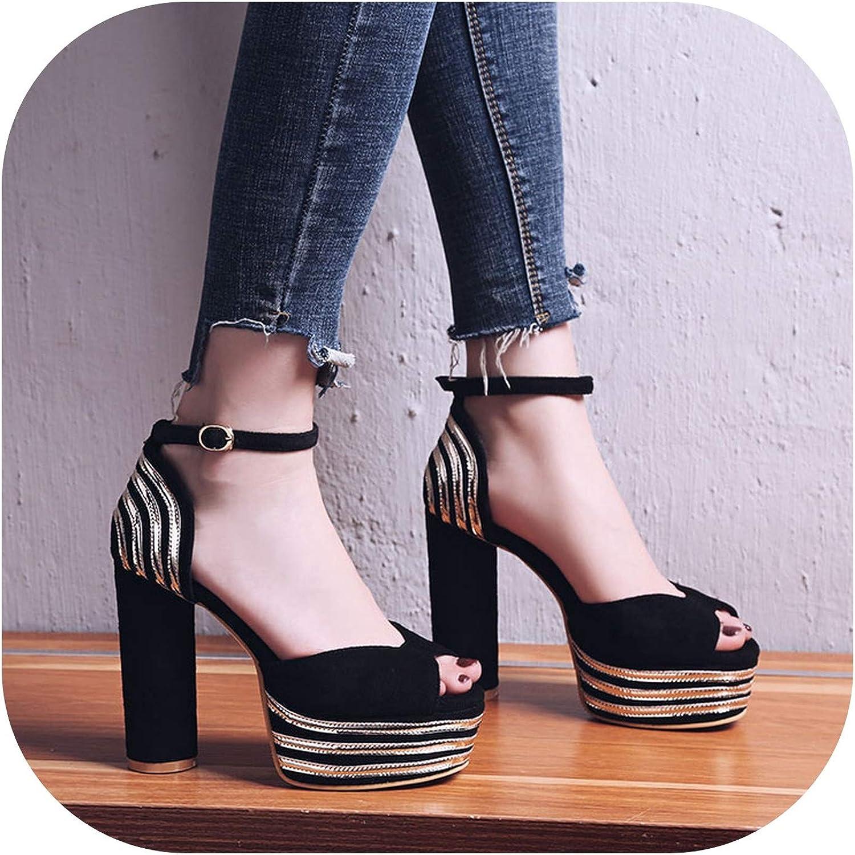 Summer Women Platform Sandals Thick Heels Ankle Strap shoes