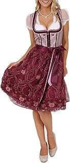 Krüger Dirndl Krüger MADL Damen Dirndl Lera 47856 - Bordeaux Rot 60cm - Romantisches Trachtenkleid Dirndlschürze Oktoberfest Kirchweih Volksfest