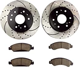 Atmansta QPD10051 Front Brake kit with Drilled/Slotted Rotors and Ceramic Brake pads for Cadillac XTS Chevrolet Avalanche GMC