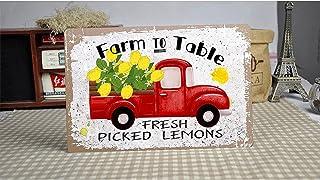 XIAGEANA Farm to Table Lemons Tin Sign Retro Style Sign Vintage Wall Decor for Garage, Club, Bar Wall Decoration Aluminum ...