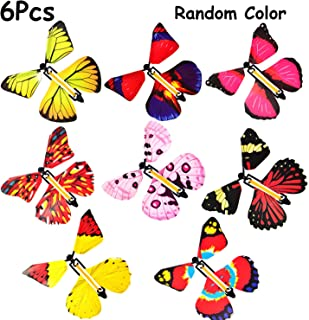 B bangcool Magic Flying Butterflies Rubber Band Powered Funny Wind Up Butterfly Toy Fairy Toy Surprise Gift (6pcs)