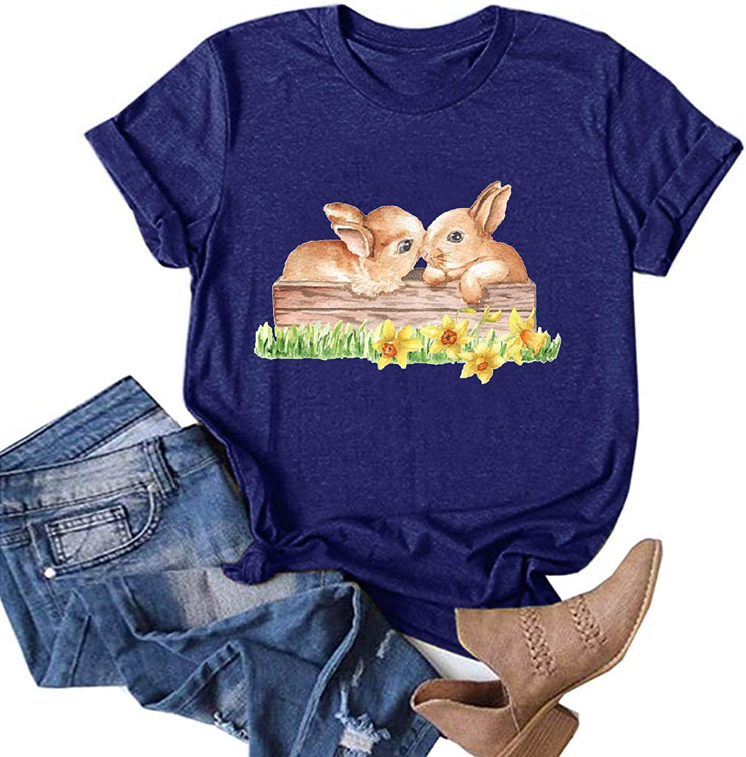 Graphic Tees for Women,Womens Casual Summer Easter Cute Graphic Short Sleeve T Shirts Tees Tops Tunics Blouses