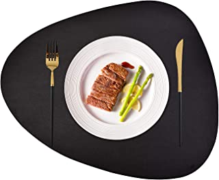 JTX Placemats Set of 2 Round Leather for Dinner Table Mats Heat-Resistant Non-Slip Washable Insulation Coffee Mats Kitchen Place Mats Nordic Style Placemats (Black, Large)