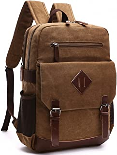 Kenox Mens Large Vintage Canvas Backpack School Laptop Bag Hiking Travel Rucksack Brown