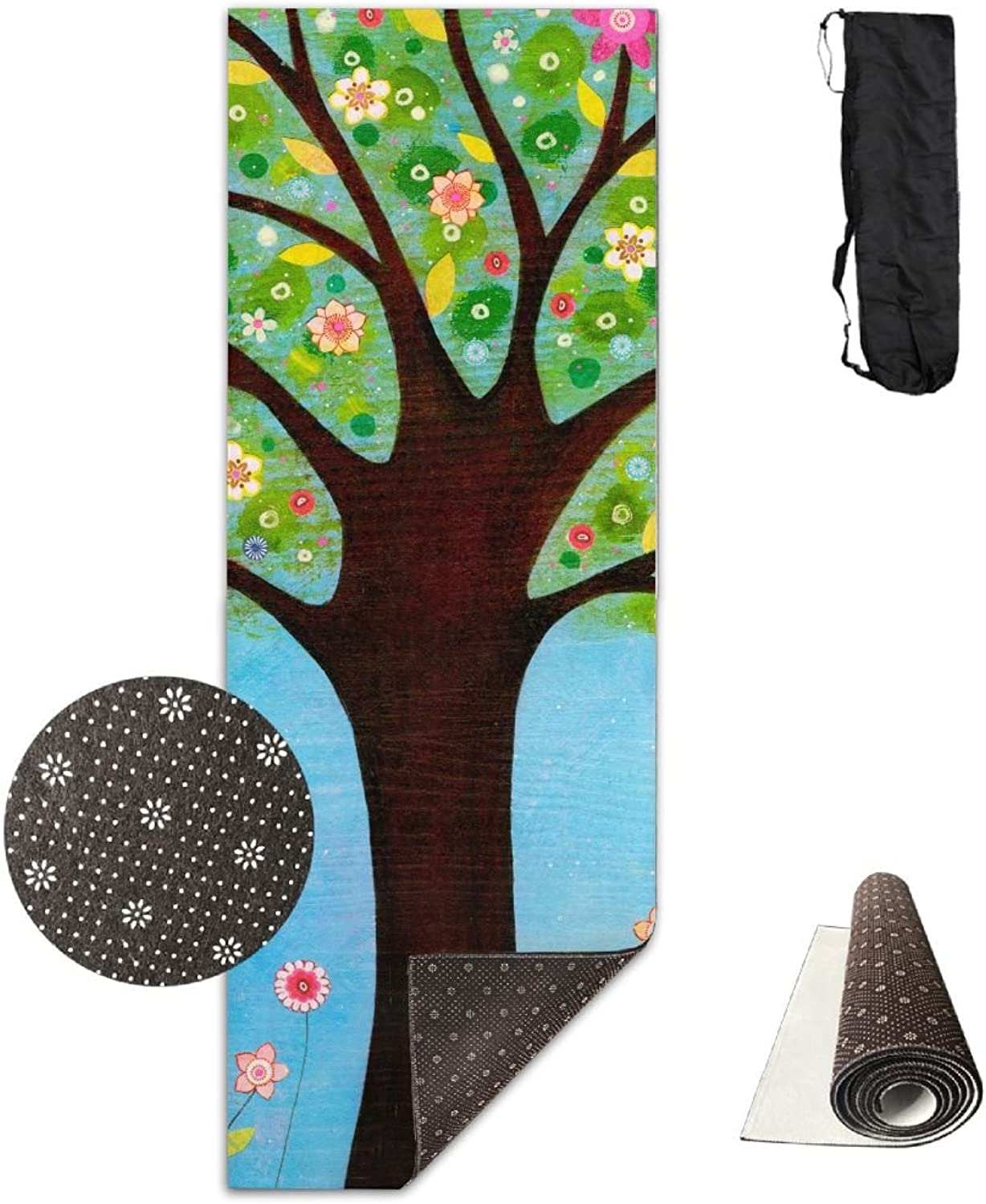 Yoga Mat Non Slip 24  X 71  Exercise Mats Sunlight Flowers Tree Premium Fitness Pilates Carrying Strap