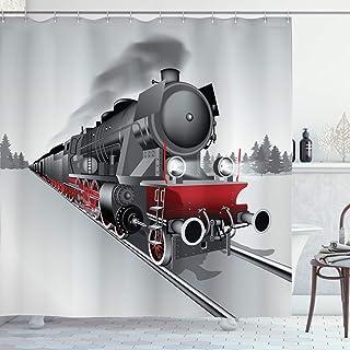 Ambesonne Steam Engine Shower Curtain, Locomotive Red Black Train on Steel Railway Track Travel Adventure Graphic Print, C...