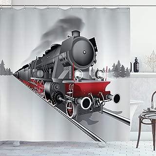 Ambesonne Steam Engine Shower Curtain, Locomotive Red Black Train on Steel Railway Track Travel Adventure Graphic Print, Cloth Fabric Bathroom Decor Set with Hooks, 70