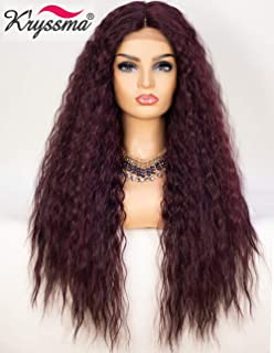 K'ryssma 99j Wavy Curly Lace Front Wig Deep Middle Part Long Synthetic Wigs 130% Density fluffy Curly Burgundy Wig for Women 22 inches