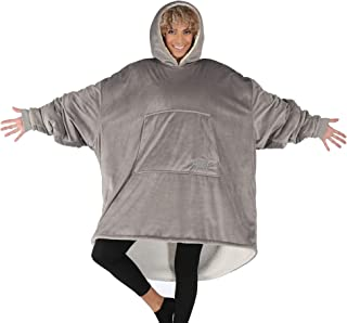 THE COMFY Original | Oversized Microfiber & Sherpa Wearable Blanket, Seen On Shark Tank, One Size Fits All Gray