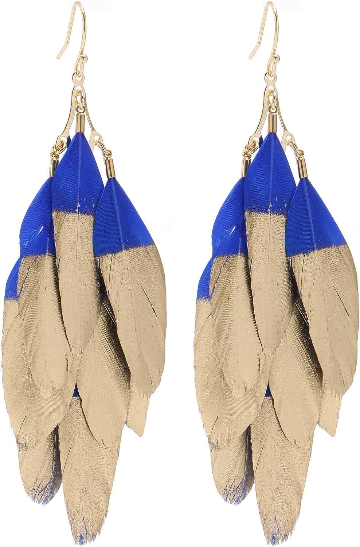 Colorful Bohemian Feather Dangle Drop Earring Gifts for Women Girls Jewelry000001001466