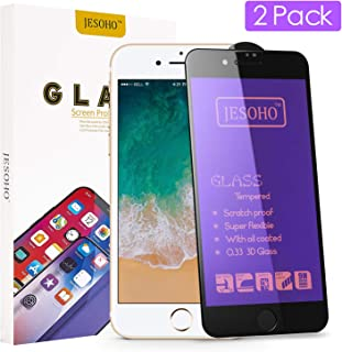 JESOHO Screen Protector Compatible for iPhone 7 Plus & 8 Plus [2 Pack], 9H Hardness Anti-Fingerprint Tempered Glass with Anti Blue Light Filter for iPhone 7 Plus/ 8 Plus,3D Curved Full Coverage, Eye Protection,Case Friendly(Black)