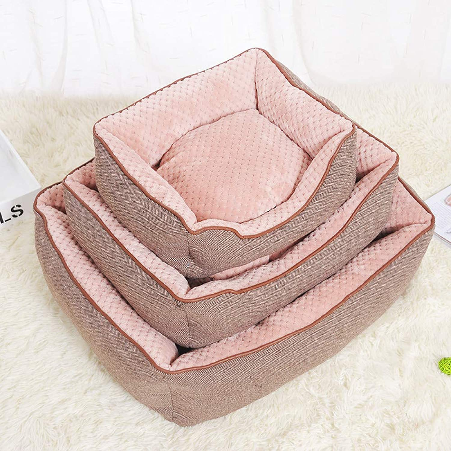 Aigou Dog Bed Soft Dog Bed Mat Cotton Linen Corn Kernels Pad For Small Medium Pets Bed House Cushion With Removable Pet Mat Nest Pet Supplies