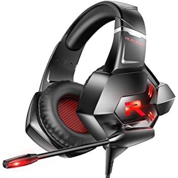 RUNMUS Gaming Headset Xbox One Headset PS4 Headset with 7.1 Surround Sound Noise Cancelling Mic & LED Light, Compatible with Xbox One (Adapter Not Included) PS4 PC Laptop