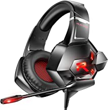 RUNMUS Gaming Headset PS4 Headset 7.1 Surround Sound Light Over Over Ear Gaming هدفون با میکروفون لغو کننده صدا ، چراغ LED برای PS4 ، Xbox One (آداپتور موجود نیست) ، رایانه شخصی ، لپ تاپ ، مک ، سوییچ نینتندو