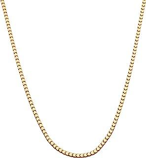 Miabella 18K Gold Over Sterling Silver Italian 1.6mm 2.2mm Square Venetian Mirror Box Link Chain Necklace for Men Women, 1...