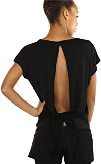 icyzone Damen Rückenfrei Sport Yoga T-Shirts Fitness Kurzarm Oberteil Tops Casual Shirt Loose Fit