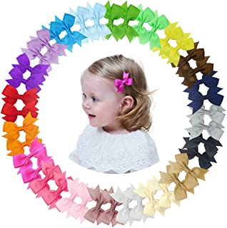 Ruyaa Pinwheel Hair Bow Clip for Baby Girl Fully Covered Non Slip for Fine Hair Small 2 Inch Toddler Girl Hair Accessories...