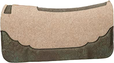 Weaver Leather 35-9323 Contoured Wool Blend Felt Saddle Pad with Daisy Moss Embossed Wear Leathers
