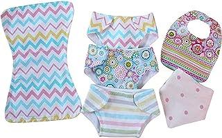 Patchwork Pink Toy Baby Doll Cloth Diaper Bib & Burp Prented Play Set