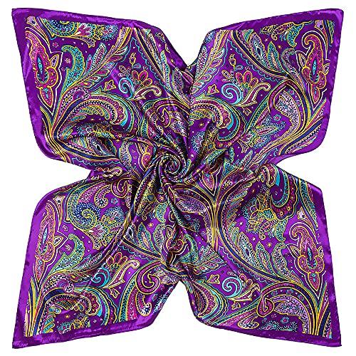 DAMILY Femmes Écharpe Bandana avec Motif Coloré Feuille Soie Aimer Grand Carré Satiné Foulard Tête 90 * 90cm (Violet)
