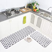 "Carvapet 2 Pieces Microfiber Chevron Non-Slip Soft Kitchen Mat Bath Rug Doormat Runner Carpet Set 20""x63""+20""x31"" Grey"