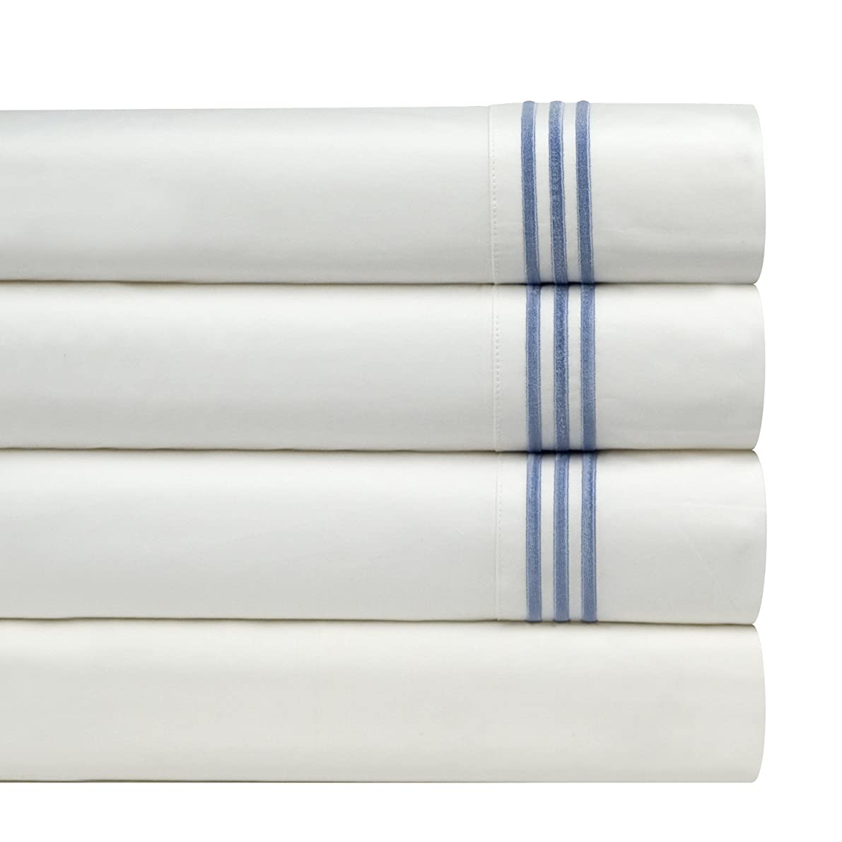 Pointehaven 300 Thread Count Egyptian Cotton Embroidered Pillowcase, Standard, Blue