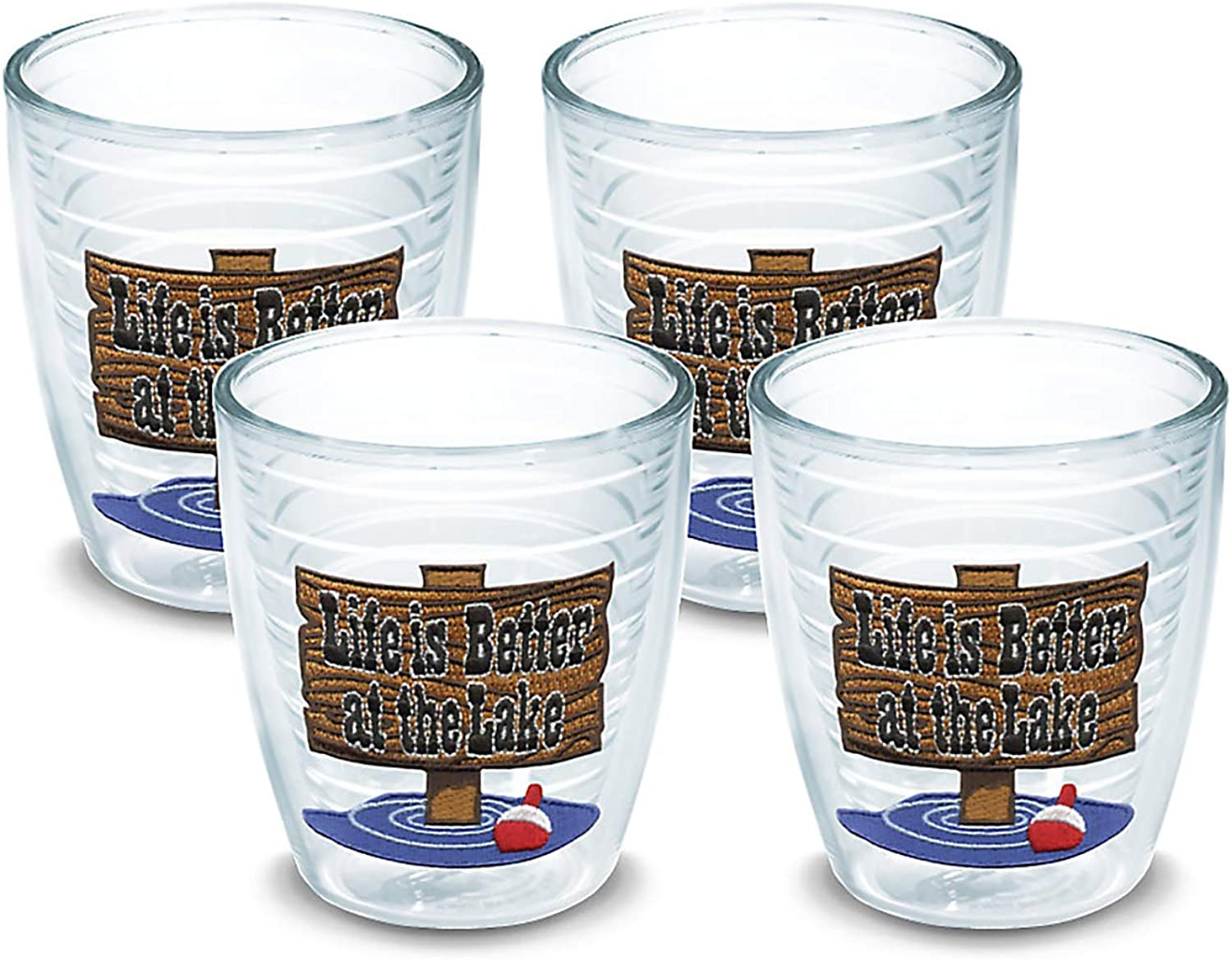 Tervis 1040876 Life is Better at the Lake Tumbler with Emblem 4 Pack 12oz, Clear