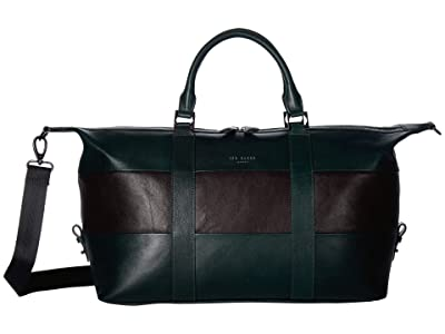 Ted Baker Elton Striped Leather Holdall (Dark Green) Duffel Bags