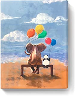 amatop Canvas Wall Art Animal Elephant Panda Painting Sea Beach Canvas Print Costal Picture for Kids Room Bathroom Baby's Room Nursery Stretched Artwork Ready to Hang Small Blue Brown 12x16inch