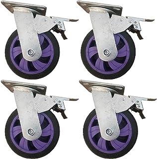 YJJT Draaibare zwenkwielen, meubelwiel, zware industriële wielen, met rem en kogellager, flexibele rotatie en stilte, 5, ...