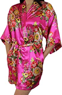 Women's Floral Satin Kimono Short Bridesmaid Robe with Pockets - Silky Touch