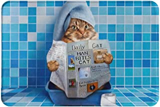 EZYES Cat Toilet Reading Newspaper Picture Bath Mat Cat Rug Doormats for Bathroom Non Slip Bath Rugs Dorm Room Kitchen Car...