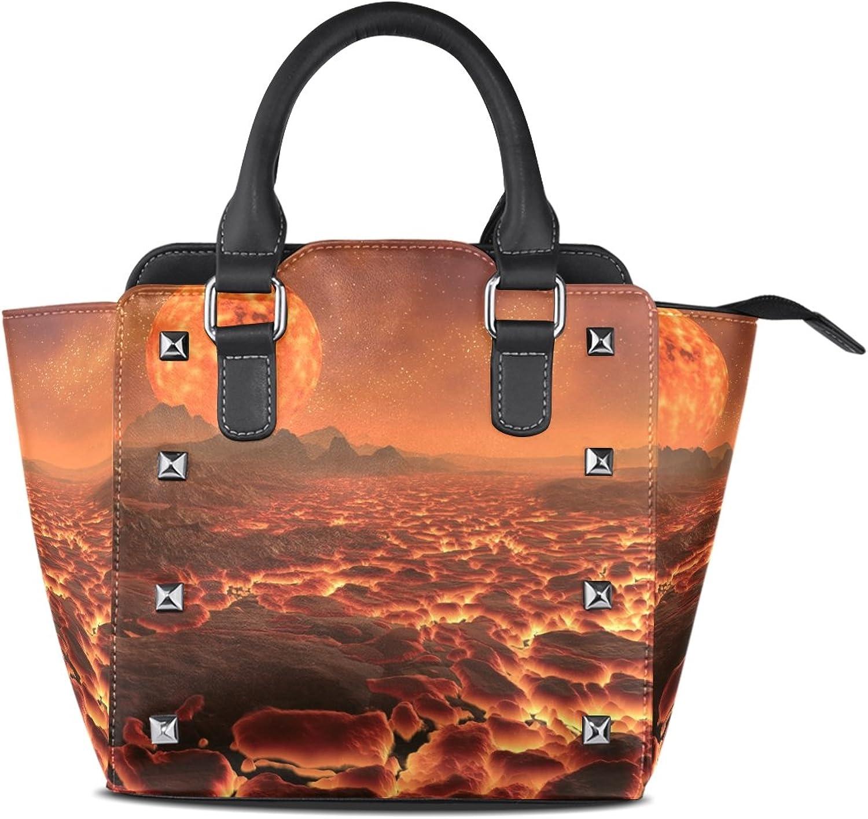 My Little Nest Women's Top Handle Satchel Handbag Alien Planet with Volcanos Ladies PU Leather Shoulder Bag Crossbody Bag