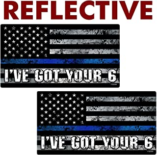 AZ House of Graphics Reflective Thin Blue Line I've Got Your 6 Flag Stickers 2 Pack