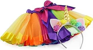 Girls Rainbow Ribbon Tutu Skirt for Dress Up, Ballet, or Costume Photos with Unicorn Flower Headband for Little Pony Fun