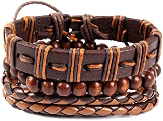 Unknown By Ayesha Men's Set Of Three Tan Brown Faux Leather Bracelets